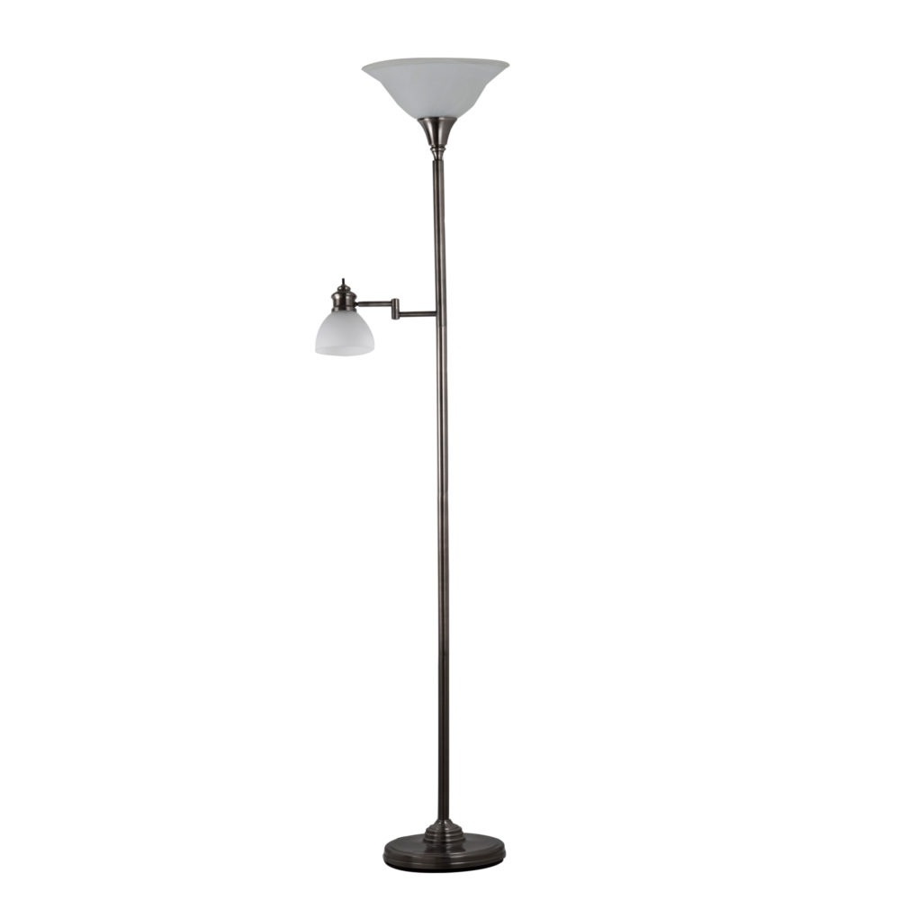 Aaron Torchiere w/Swing Arm Reading Light- Antique Pewter 1